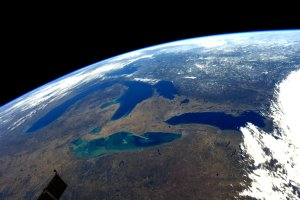 Image of Michigan from space by astronaut A.J. (Drew) Feustel