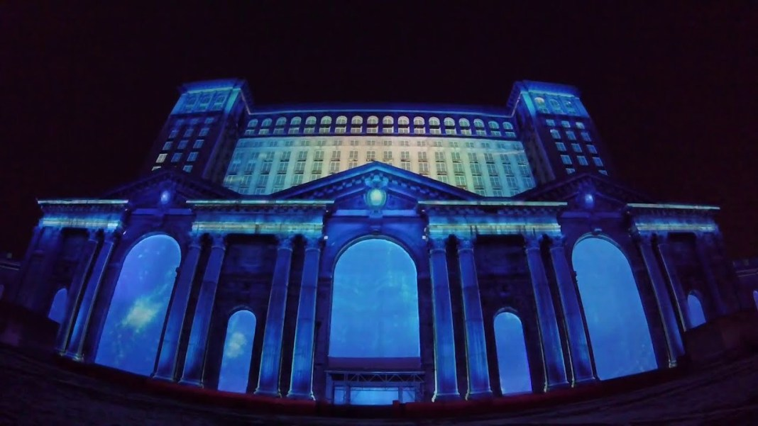 Light show Detroit Train Station put on by Ford