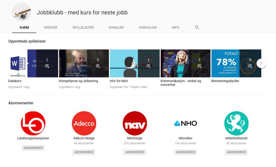 Jobbklubb-bloggens YouTube-kanal