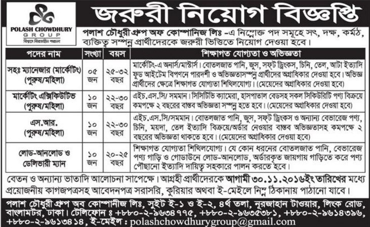 Polash Chowdhury Group job circular 2016
