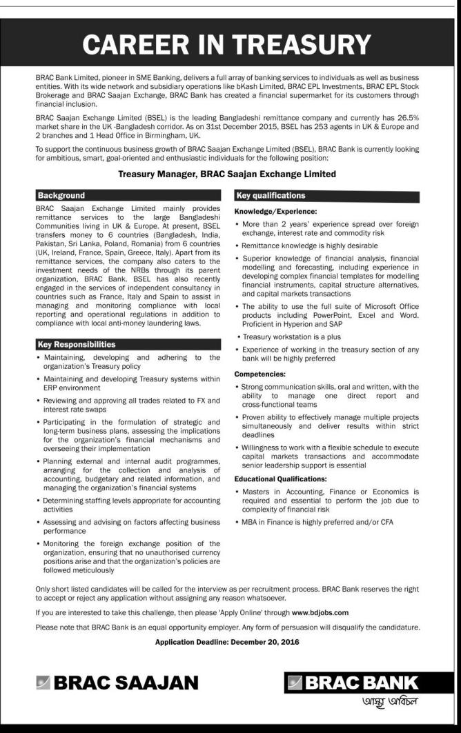 BRAC Bank Job Circular December 2016