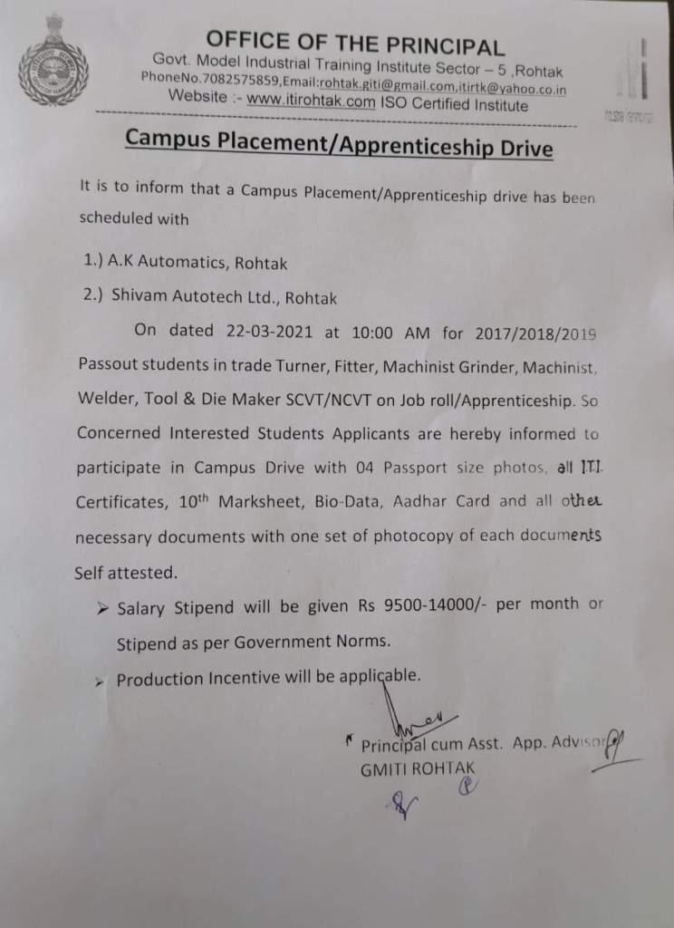 ITI Campus Placement Apprenticeship In Govt ITI Model ITI Rohtak Haryana