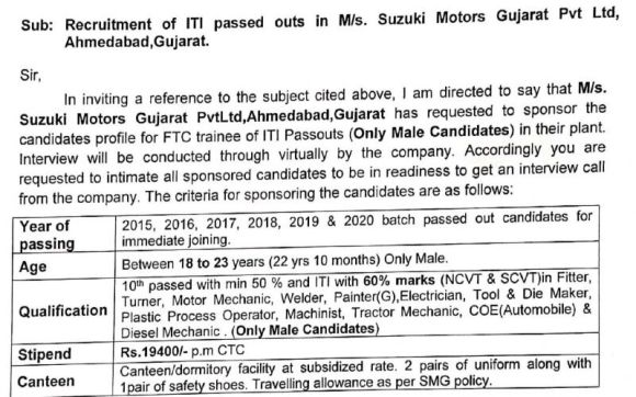 Campus Interview For ITI passed outs in M/s Suzuki Motors Gujurat Pvt. ltd.