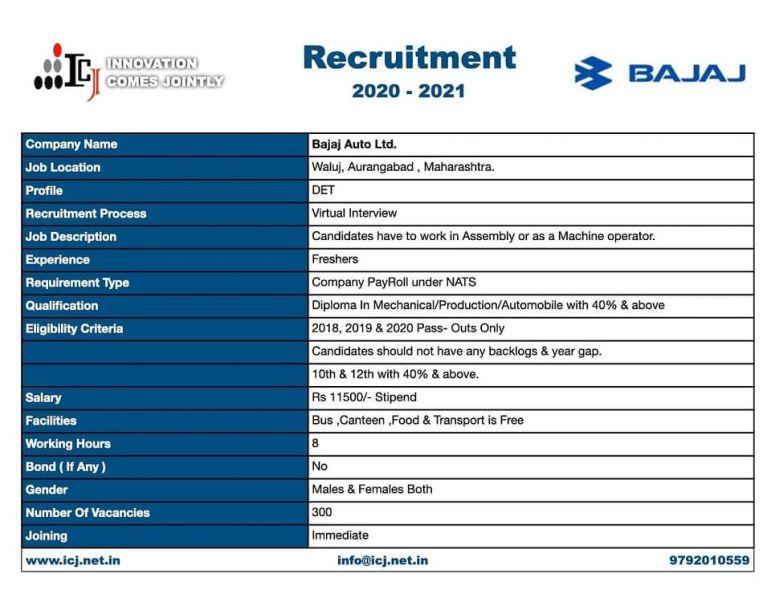 Job Recruitment For Diploma Mechanical / Production / Automobile