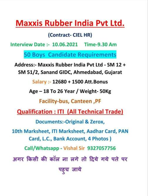 Walk In Interview In Maxxis Rubber India Pvt Ltd