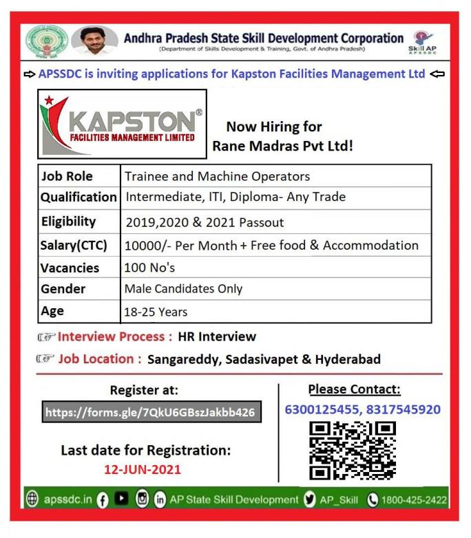 12th, ITI, Diploma Any Trade Job Recruitment