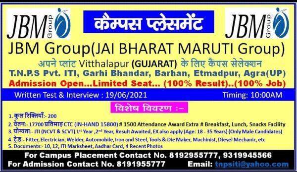 ITI Campus Placement In TNPS Pvt ITI Etmadpur Agra