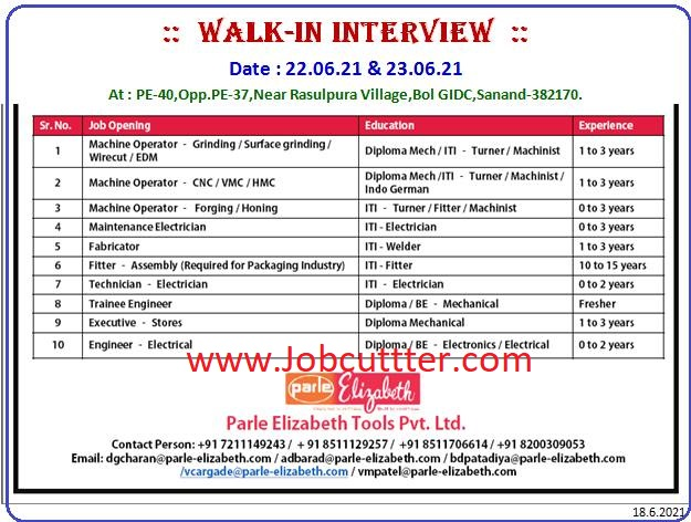 Requirements ITI And Diploma And BE Candidates Walk In Interview