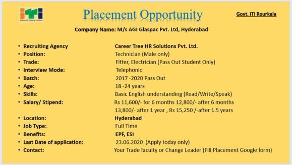 ITI Placement In Govt ITI Rourkela, Odisha