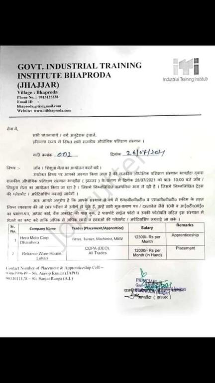 ITI Campus Placement In Govt ITI Bhaproda Jhajjar