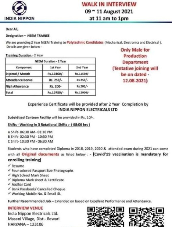 India Nippon Electricals Ltd Walk In Interview 2021