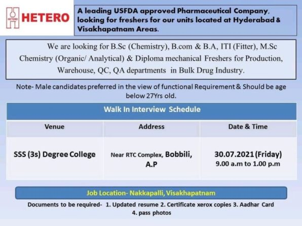 Hetero Drugs Walk In Interview For Freshers Candidates