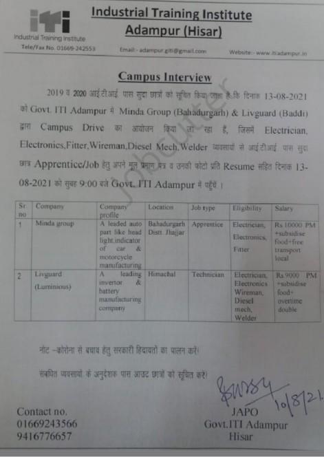ITI Campus Placement In Govt ITI Adampur Hisar