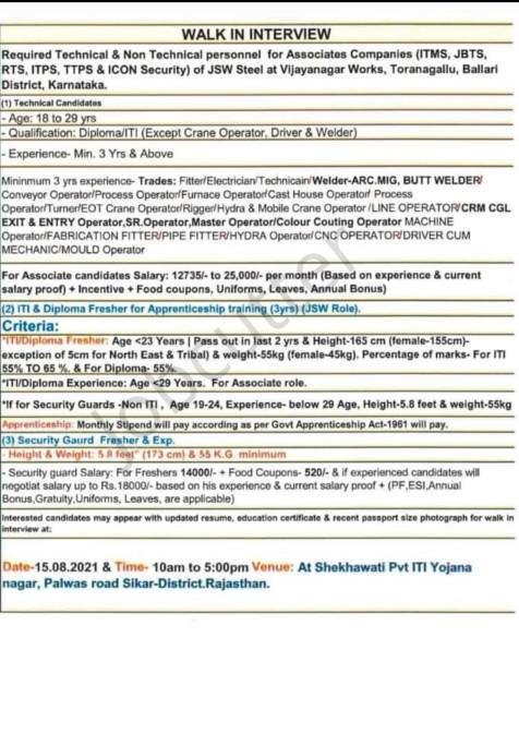 Walk In interview At Shekhawati ITI Sikar 2021