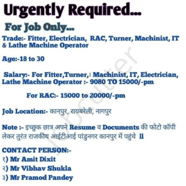 Urgently Required Jobs In Kanpur, Nagpur, Raebareli