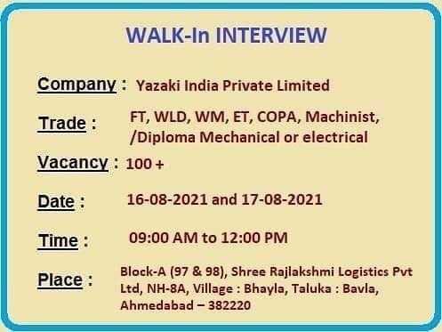 Yazaki India Pvt Ltd Recruitment || Walk In Interview 2021