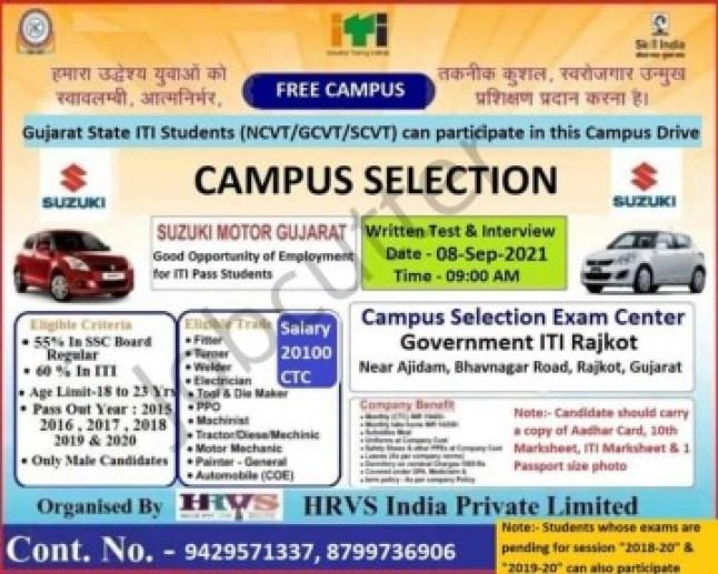 ITI Campus Placement At Govt ITI Rajkot 2021
