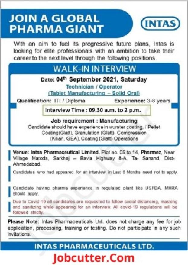 Recruitment 2021 For Intas Pharmaceuticals
