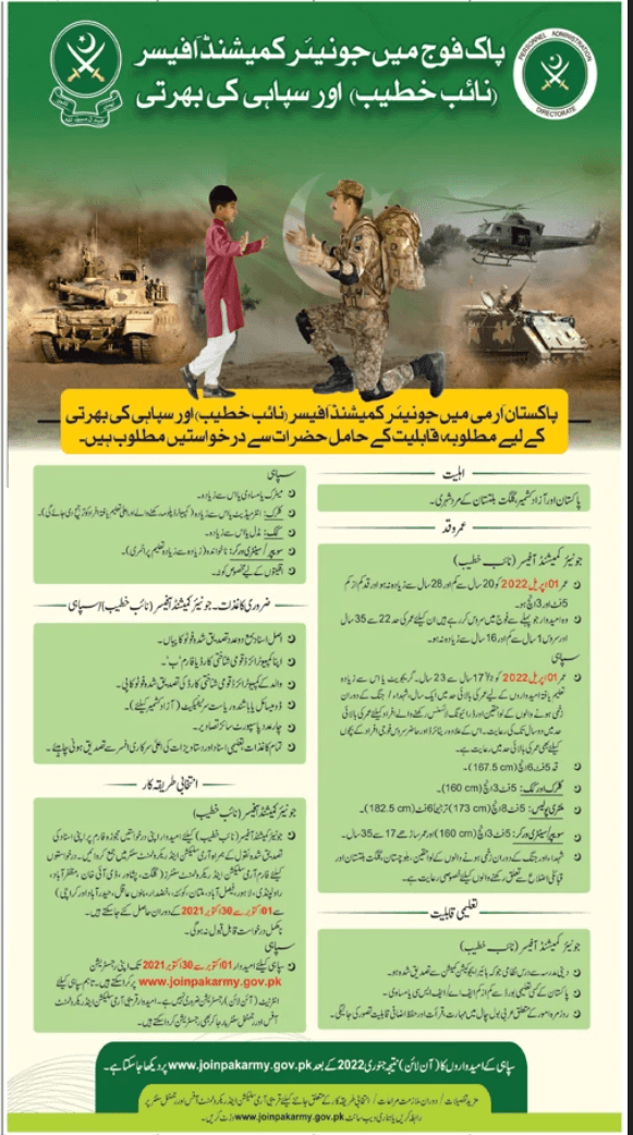 Join Pak Army as Junior Commissioned Officer Advertisement
