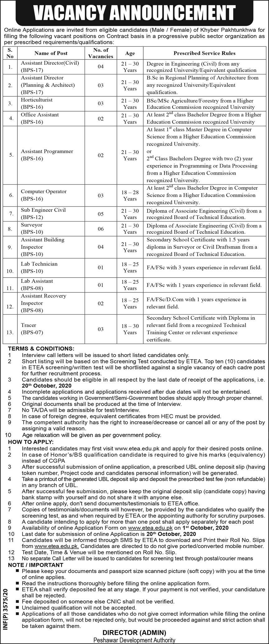 Peshawar Development Authority Jobs 2020 Online Apply