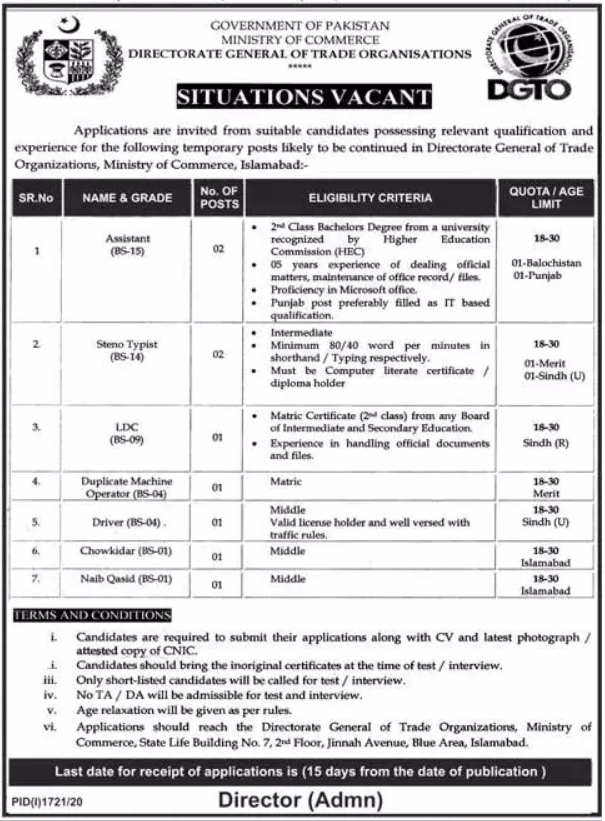 Ministry of Commerce Jobs 2020