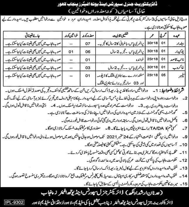 Sports and Youth Affairs Department Punjab Jobs 2021