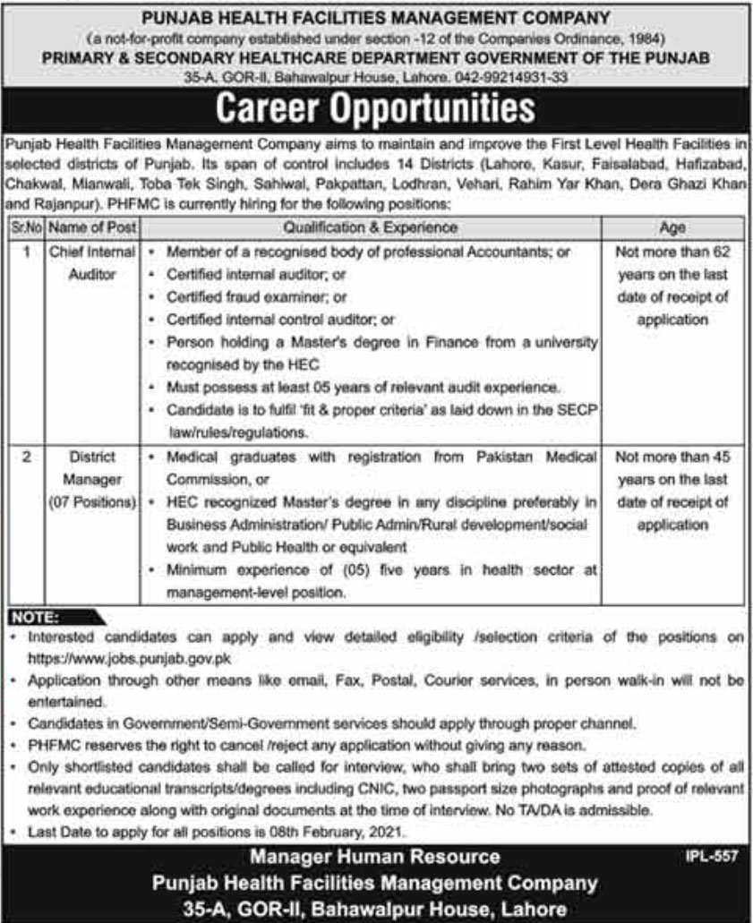Latest Govt Jobs Primary and Secondary Healthcare Department 2021