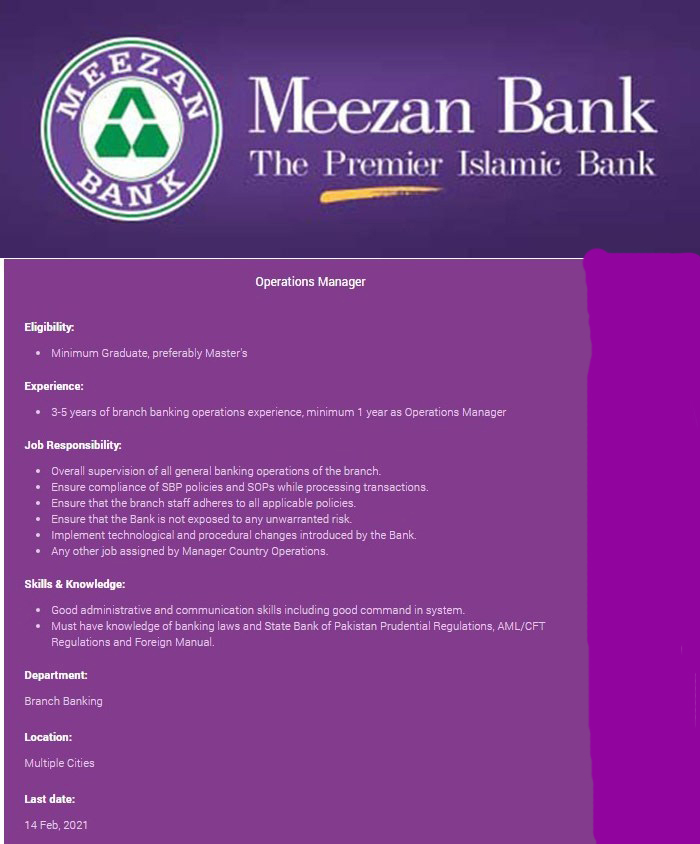 Meezan Bank Jobs 2021 Advertisement