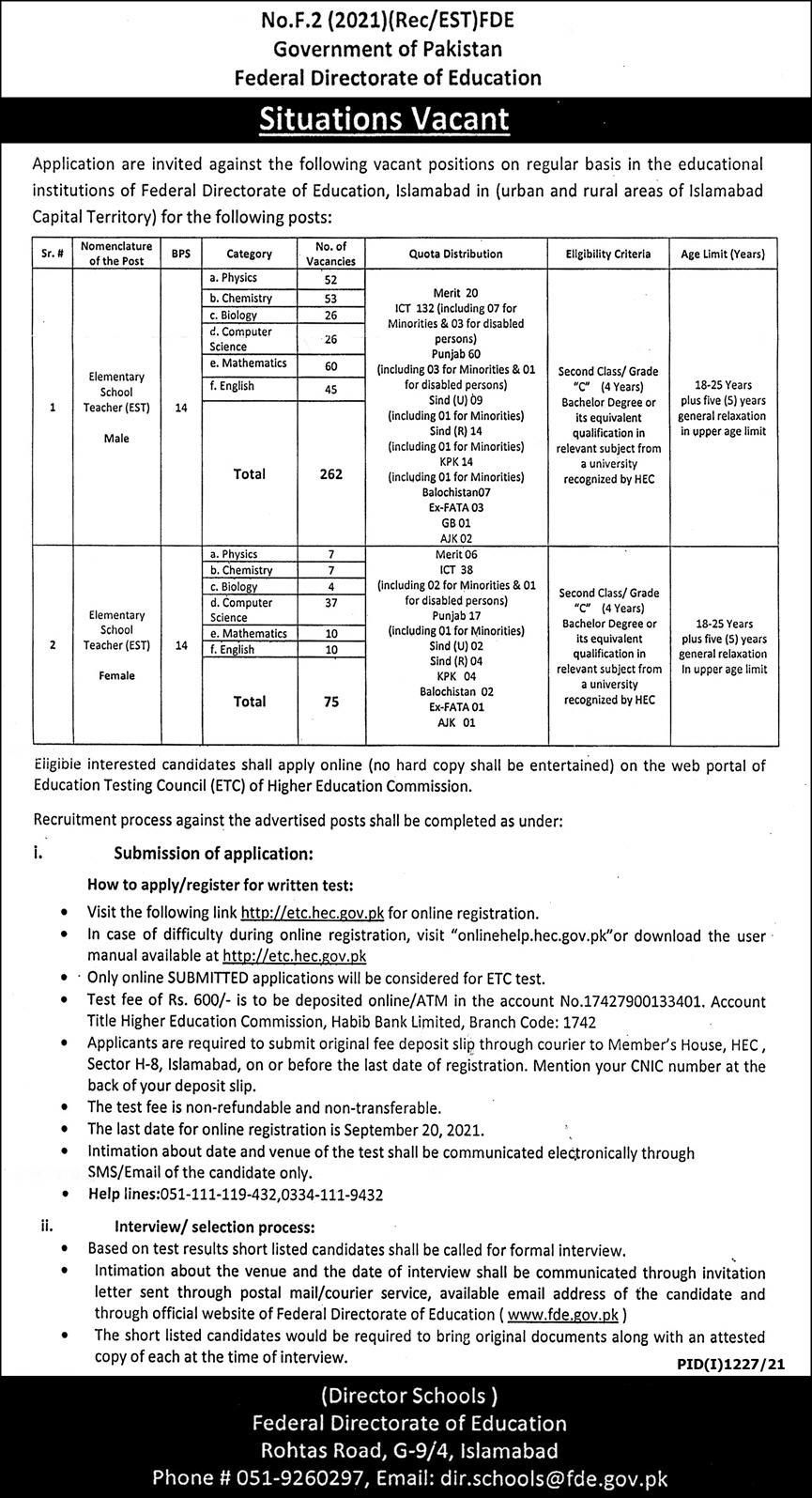 Federal Directorate of Education Jobs 2021 | Govt Of Pakistan Islamabad Advertisement