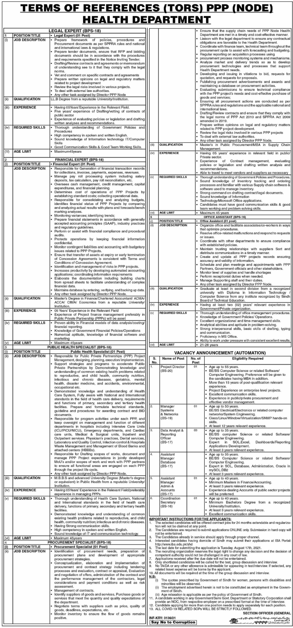 Health Department Public Private Partnership PPP Authority Jobs 2021 Advertisement