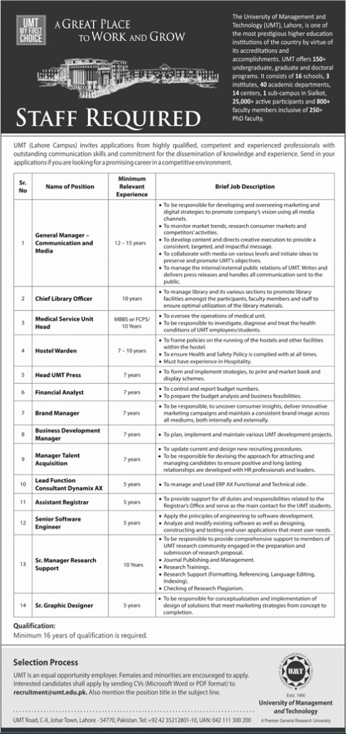 University of Management and Technology UMT Lahore Jobs 2021 Advertisement