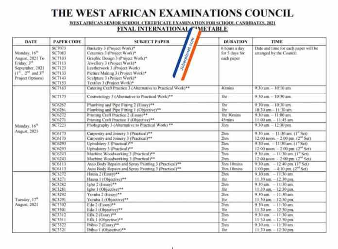 WAEC Timetable 2021 for local/international students