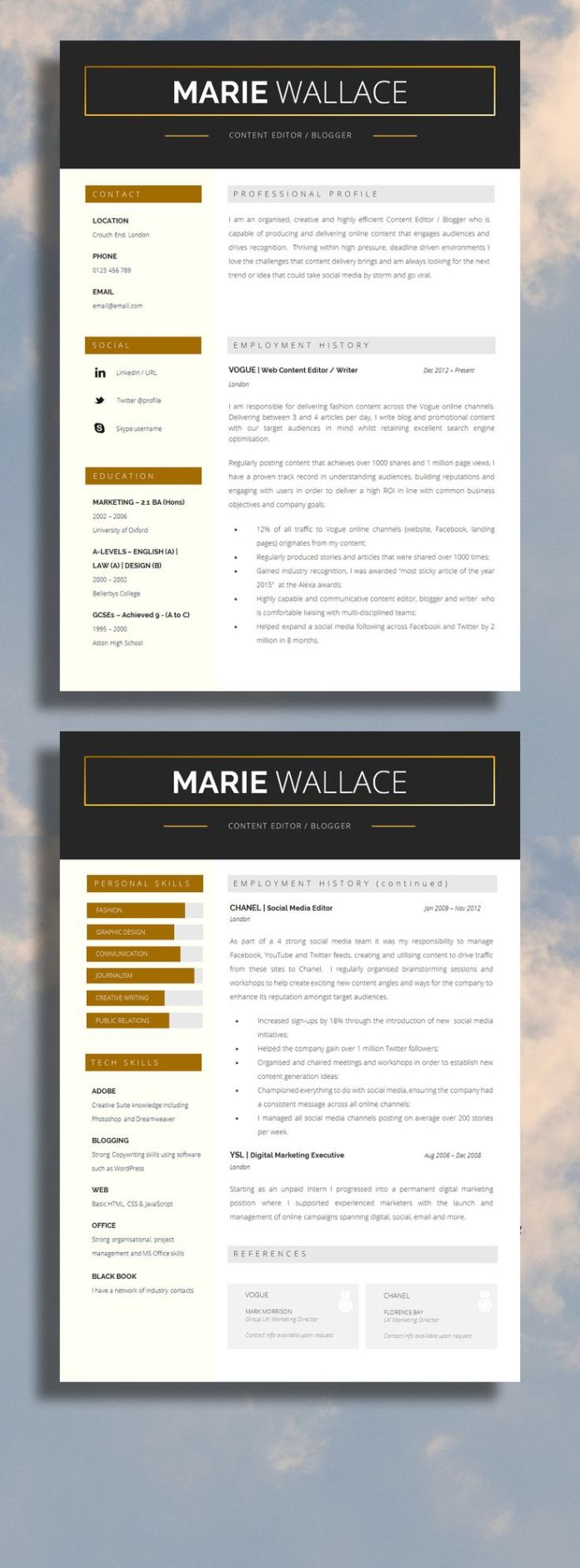 resume   two page professional resume template with