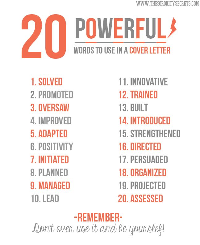 infographic 20 powerful words to use in a resume great words that