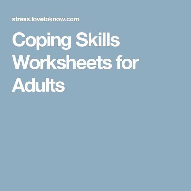 Stress Management Coping Skills Worksheets For Adults