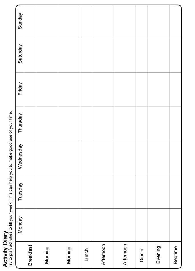 Stress Management Moodjuice Activity Scheduling Worksheet Self