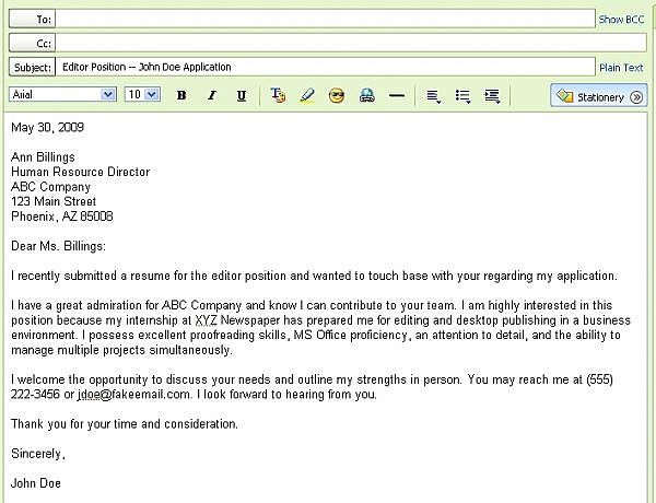 Resume Submission Email Sample Best Formats For Sending Job