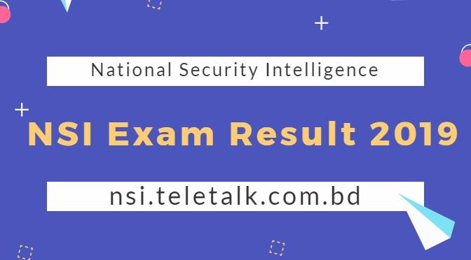 National Security Intelligence NSI Exam Result 2019