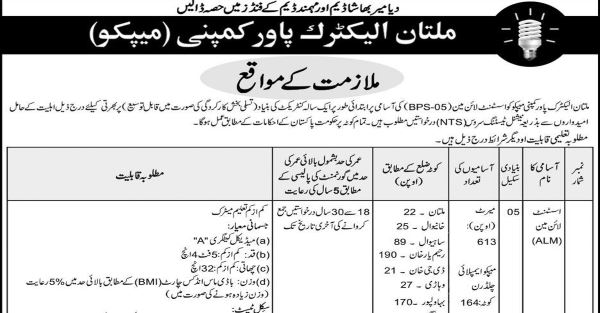 Multan Electric Power Company (MEPCO) Jobs 2019 for 825