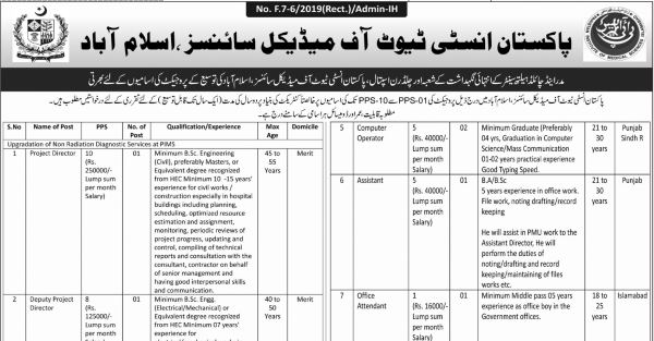 PIMS Islamabad Jobs 2019 for Project Directors, Computer