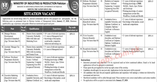 Ministry of Industries & Production Pakistan Jobs 2020 for