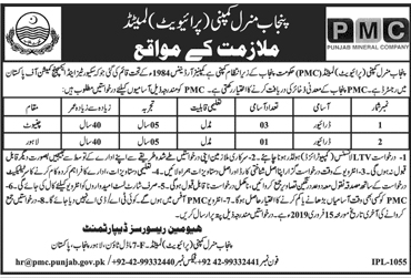 Jobs In Punjab Mineral Company Pvt Limited PMC 04 Feb 2019