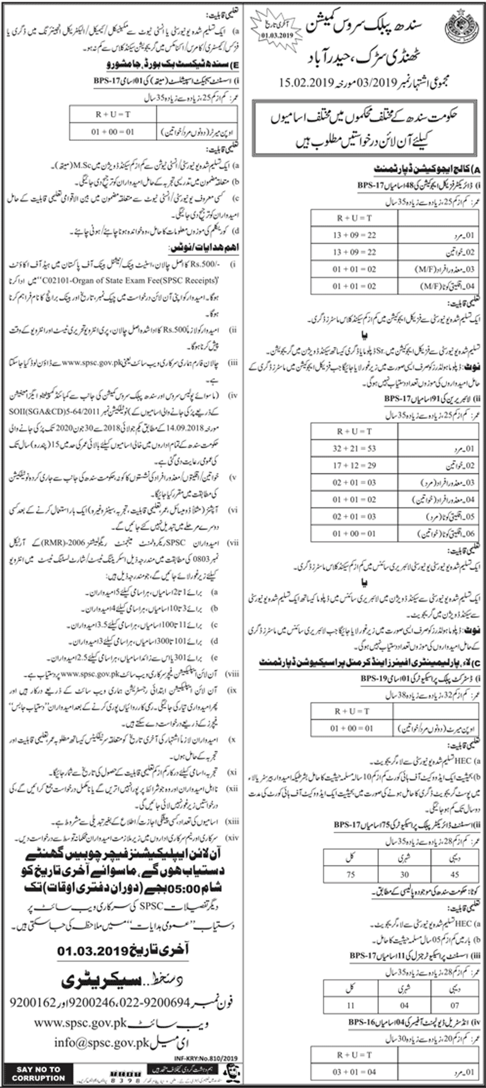Jobs In Sindh Public Service Commission SPSC 17 Feb 2019
