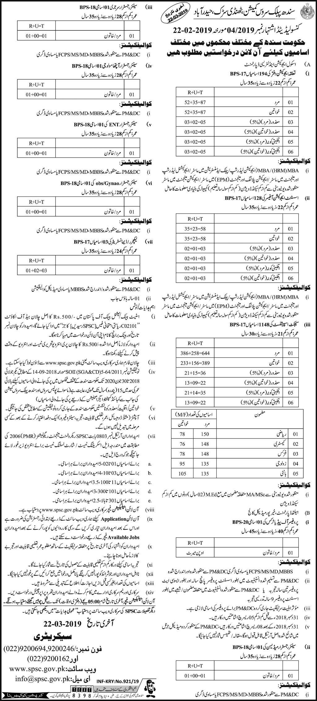 Jobs In Sindh Public Service Commission SPSC 24 Feb 2019