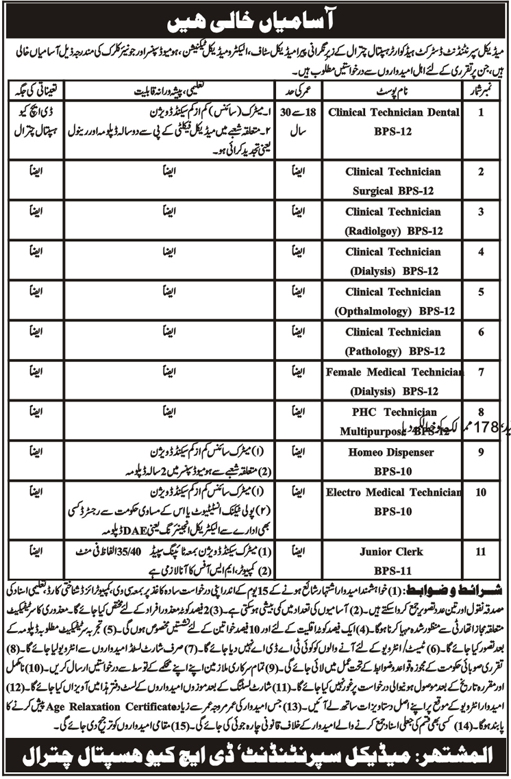 11 New Jobs in District Headquarters Hospital Chitral 04