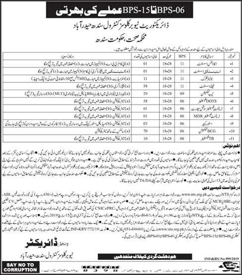 NTS Jobs In Health Department Govt Of Sindh 05 Mar 2019