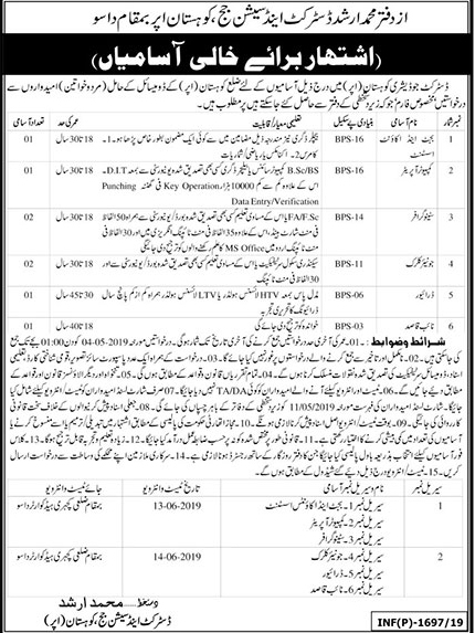 Jobs In District And Session Judge Kohistan Upper 24 Apr 2019