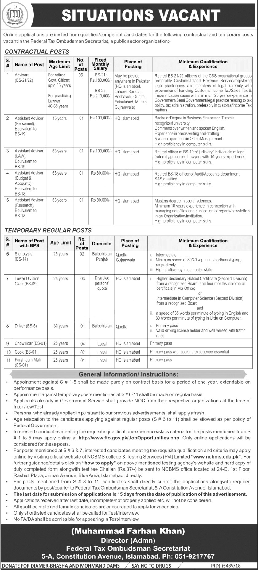 Jobs In Federal Tax Ombudsman Secretariat 18 May 2019