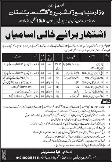 Jobs In Ministry Of Affairs Kashmir Gilgit Baltistan Govt Of Pakistan 18 May 2019