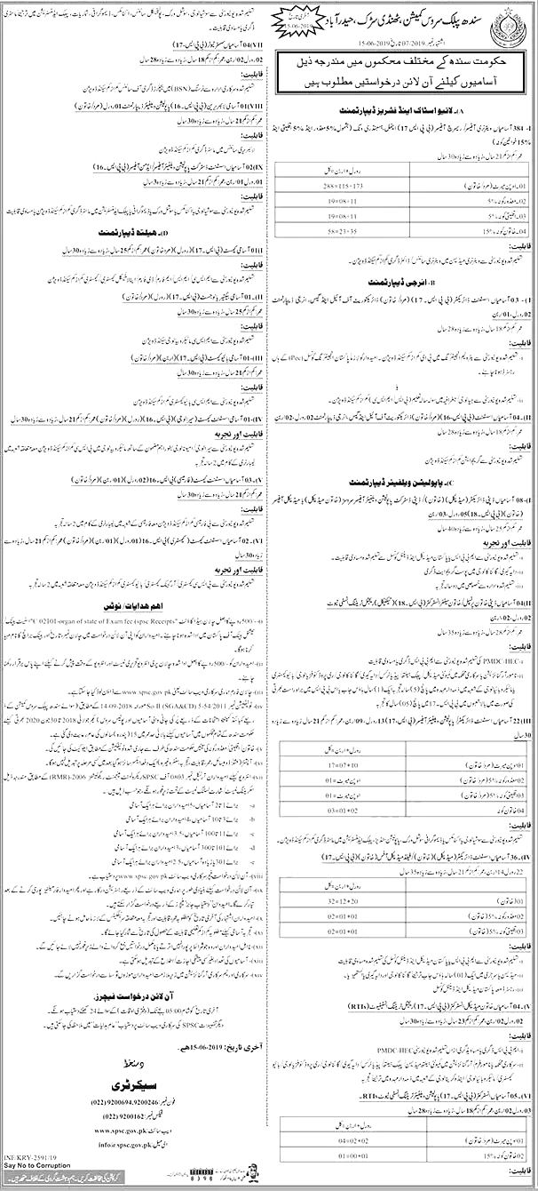 Jobs In Sindh Public Service Commission SPSC 18 May 2019This job advertisement has vacancies for following postsVeterinary Officer, Assistant Director, Deputy Director, Principal, Senior Instructor, Population Welfare Officer, Assistant Chemist,